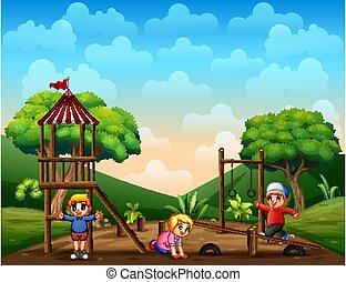 dzieci, ilustracja, plac gier i zabaw