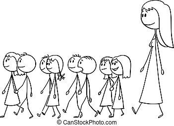 dzieci, ilustracja, rysunek, przedszkole, wektor, chód, nauczyciel, mały