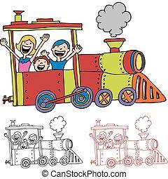 dzieci, jeżdżenie, pociąg