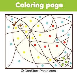 dzieci, oświatowy, game., kolorowanie, strona, z, bird., kolor, przez, kropkuje, printable, działalność