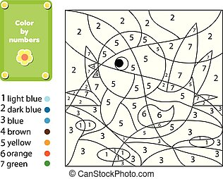dzieci, oświatowy, game., kolorowanie, strona, z, duck., kolor, przez, takty muzyczne, printable, działalność