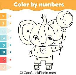 dzieci, oświatowy, game., kolorowanie, strona, z, elephant., kolor, przez, takty muzyczne, printable, działalność