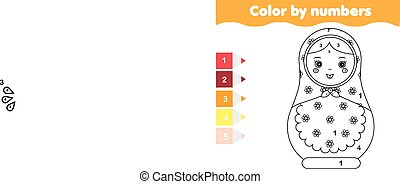 dzieci, oświatowy, game., kolorowanie, strona, z, matreshka, doll., kolor, przez, takty muzyczne, printable, działalność