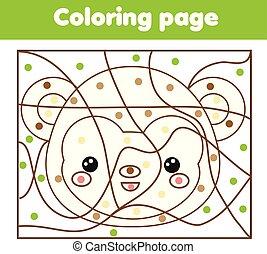 dzieci, oświatowy, game., kolorowanie, strona, z, monkey., kolor, przez, kropkuje, printable, działalność