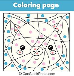 dzieci, oświatowy, game., kolorowanie, strona, z, pig., kolor, przez, kropkuje, printable, działalność