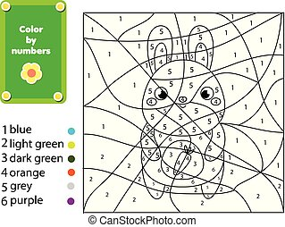 dzieci, oświatowy, game., kolorowanie, strona, z, rabbit., kolor, przez, takty muzyczne, printable, działalność