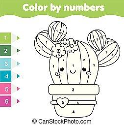 dzieci, oświatowy, game., kolorowanie, strona, z, sprytny, cactus., kolor, przez, takty muzyczne, printable, działalność