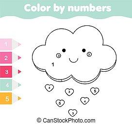 dzieci, oświatowy, game., kolorowanie, strona, z, sprytny, cloud., kolor, przez, takty muzyczne, printable, działalność