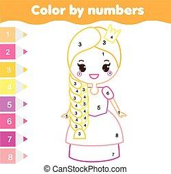 dzieci, oświatowy, game., kolorowanie, strona, z, sprytny, prnicess., kolor, przez, takty muzyczne, printable, działalność