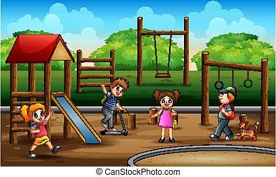 dzieci, plac gier i zabaw, ilustracja