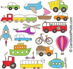 dzieci, rysunek, styl, zabawkarskie pojazdy