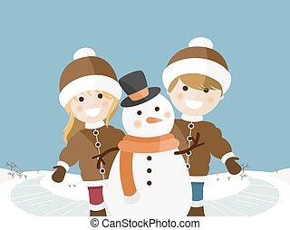 dzieci, słoneczny, zima, dzień, interpretacja