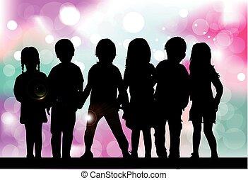 dzieci, silhouette., abstrakcyjny, tło.