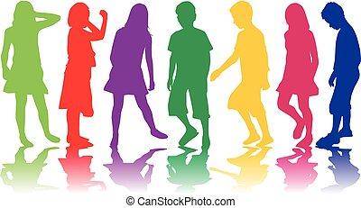 dzieci, silhouette.