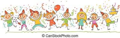 dzieci, styl, urodziny, partia., rysunki