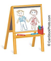 dzieci, sztaluga, kredka, drewno, rysunki