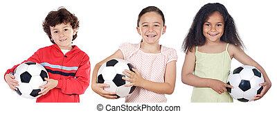 dzieci, z, piłka do gry w nogę