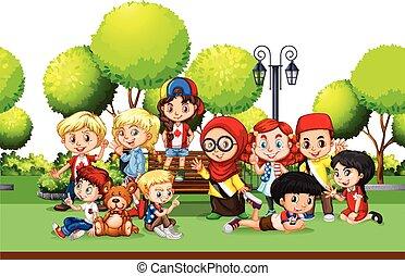 dzieci, z, różny, kraje, w parku