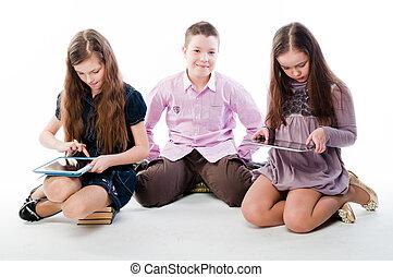 dzieci, z, tabliczka, komputery