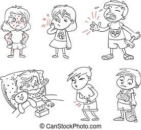 dzieci, zdobywać, sick., zabawny, rysunek, litera