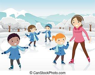 dzieciaki, łyżwiarstwo, lód, ilustracja, stickman, nauczyciel