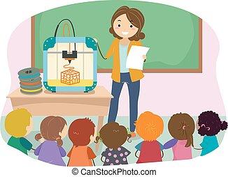 dzieciaki, 3d, ilustracja, nauczyciel, odbijacz, stickman
