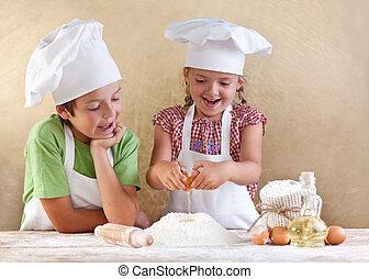 dzieciaki, albo, ciasto, przygotowując, pasta, cookie, pizza