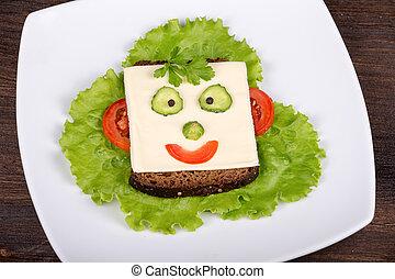 dzieciaki, bread, pepper., sałata, jadło, -, twarz, robiony...