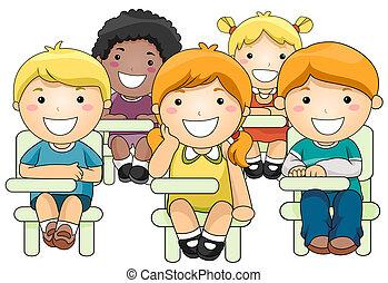 dzieciaki, chodząc, klasa
