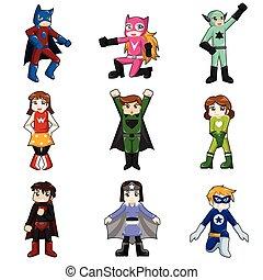 dzieciaki, chodząc, superheroes, kostium