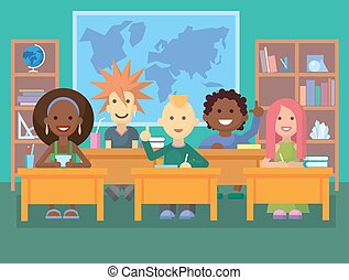 dzieciaki, classroom.