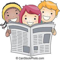 dzieciaki, czytanie gazeta, ilustracja