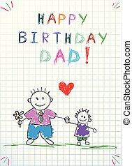 dzieciaki, dad., ilustracja, ręka, urodziny, pociągnięty, szczęśliwy