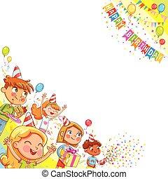 dzieciaki, dar, świętując, urodzinowy placek, tło, confetti, spadanie, balony