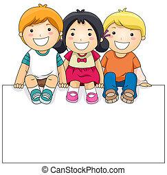dzieciaki, deska, czysty