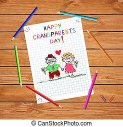 dzieciaki, dziadkowie, powitanie, ręka, dziadunio, razem., babunia, pociągnięty, dzień, karta, szczęśliwy