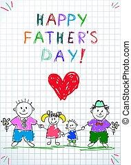 dzieciaki, family., mężczyźni, ojciec, dwa dnia, lgbt, rysunek, szczęśliwy