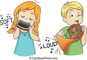 dzieciaki, gra, miękki, głośny, instrument