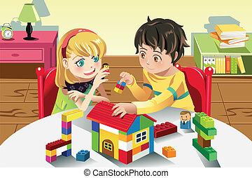 dzieciaki, grając z zabawkami