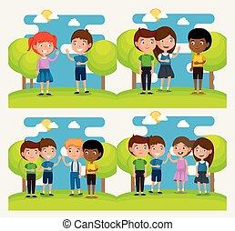 dzieciaki, grupa, park, scena, litery, szczęśliwy
