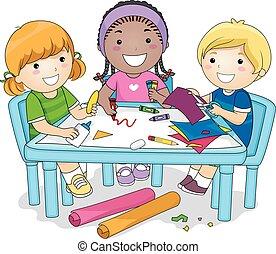 dzieciaki, grupa, sztuka, projekt
