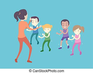dzieciaki, ilustracja, berbecie, dziewczyna, klasa, ruch