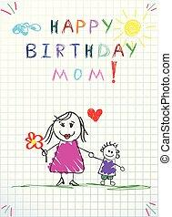 dzieciaki, ilustracja, ręka, urodziny, mom., pociągnięty, szczęśliwy
