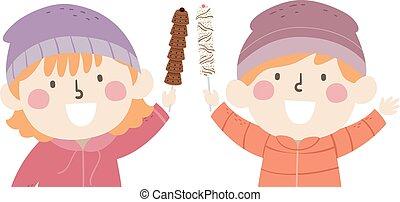 dzieciaki, ilustracja, wtykać, czekolady