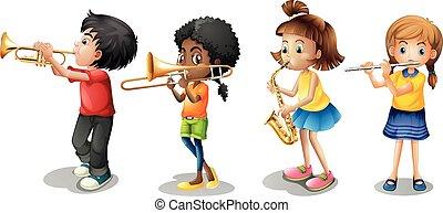 dzieciaki, interpretacja, muzyczne instrumenty
