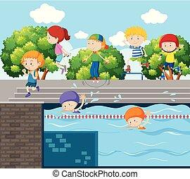 dzieciaki, interpretacja, różny, lekkoatletyka, na, przedimek określony przed rzeczownikami, park