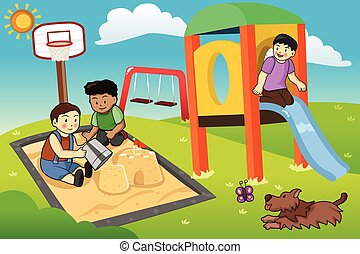 dzieciaki, interpretacja, w, przedimek określony przed rzeczownikami, plac gier i zabaw