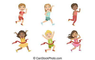 dzieciaki, komplet, wpływy, dziewczyny, ilustracja, współzawodnictwo, sport, chłopcy, wyścigi, wektor, część, godny podziwu, maraton