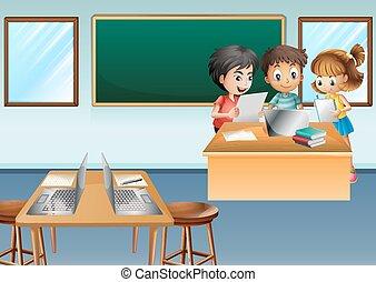 dzieciaki, komputer, trzy, klasa pracująca