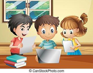 dzieciaki, komputerowy pokój, praca badawcza, trzy